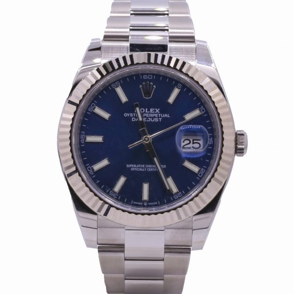 Rolex Datejust 41, Stainless Steel and 18k White Gold, Blue Dial, Ref# 126334