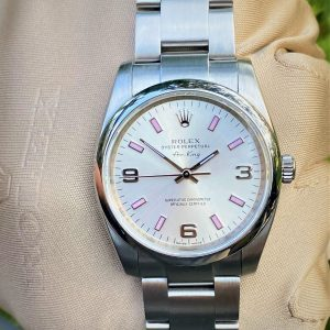 Rolex Air-King Oyster Perpetual 114200 Silver Arabic Pink Index
