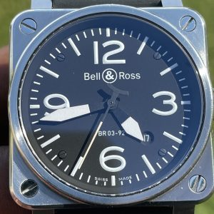 Bell & Ross BR 03-92 42mm Black/Silver Steel Case Rubber & Additional Straps