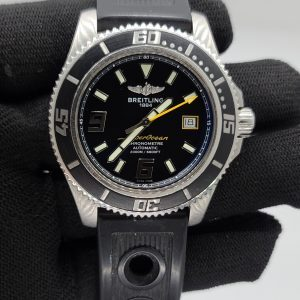 Breitling Superocean 44mm Black Dial Yellow Hand w/ Rubber Strap A17391 Complete Set